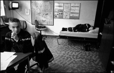 Février 2004 Liévin nord pas de calais, salle de régulation de la caserne de Liévin