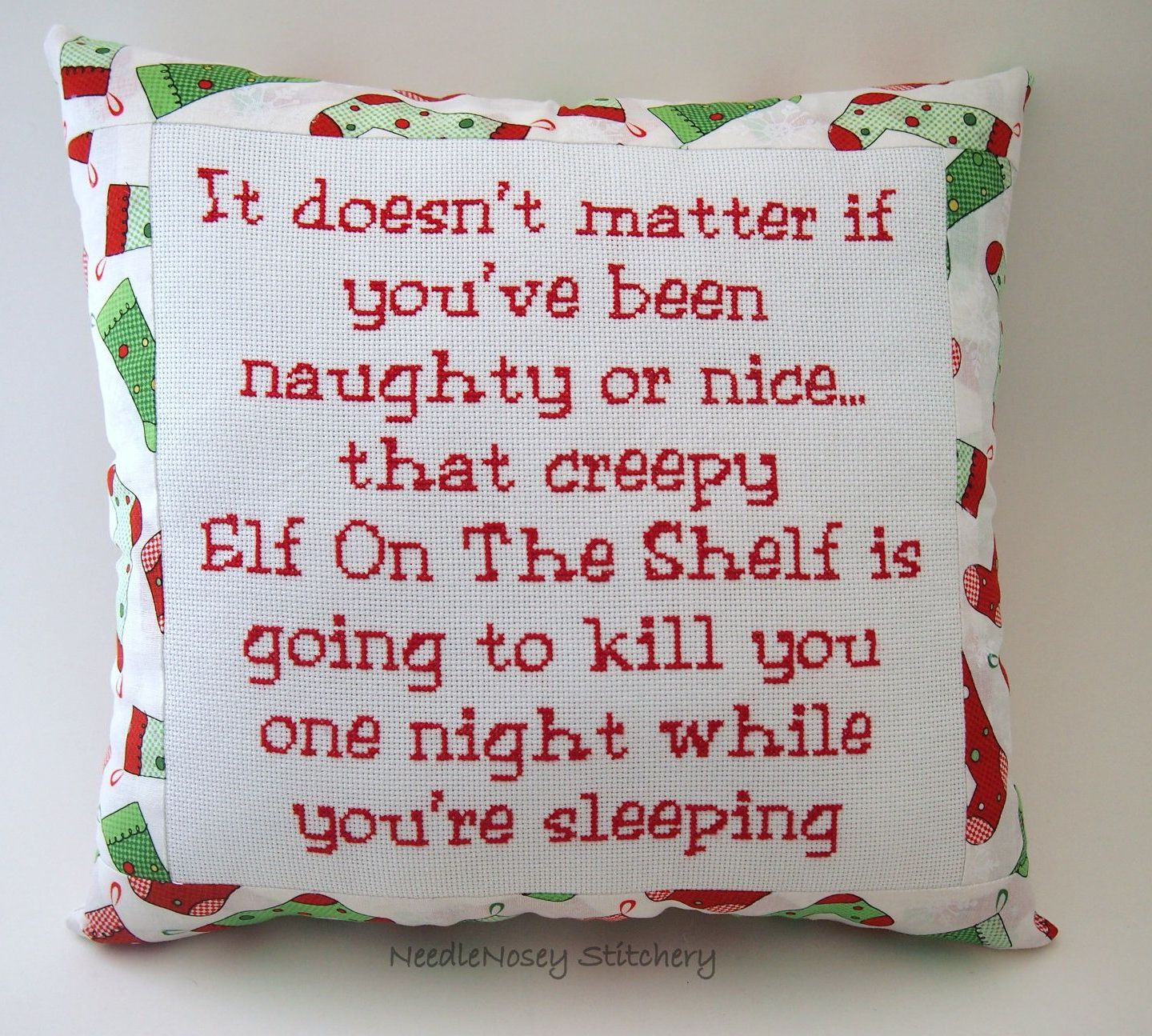 Funny Cross Stitch Christmas Pillow