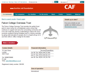Screenshot of the FCOT entry on CAF Online
