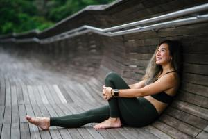 a woman resting after work out