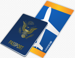 a plane ticket and a passport