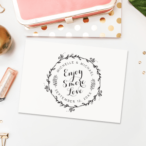 Personalized Wedding Favor Stamp – Enjoy S'more Love – This stamp is great for a wedding at night with a bonfire.  A perfect wedding favor snack!  T258
