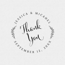 Simple Thank You Wedding Favor Stamp with leaves style T308