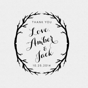 Rustic Personalized Wedding Favor Thank You Stamp - Style T203