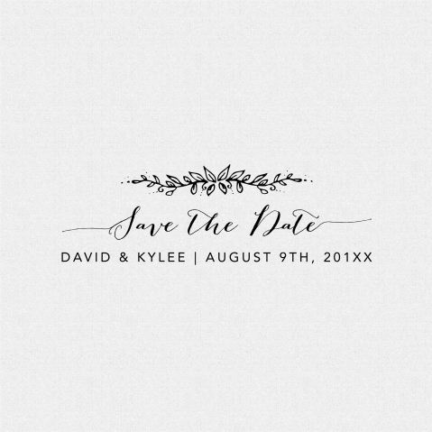 Save the Date Wedding Floral Favor Stamp – Style T374