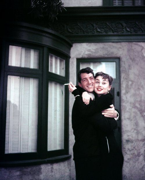 Audrey Hepburn and Dean Martin on the set of Sabrina, 1953