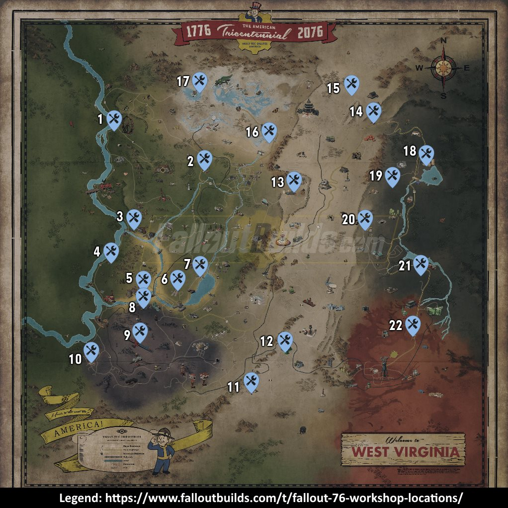 Fallout 76 Workshop Locations List Of All Workshops Resources