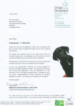 Letter from Dogs for the disabled