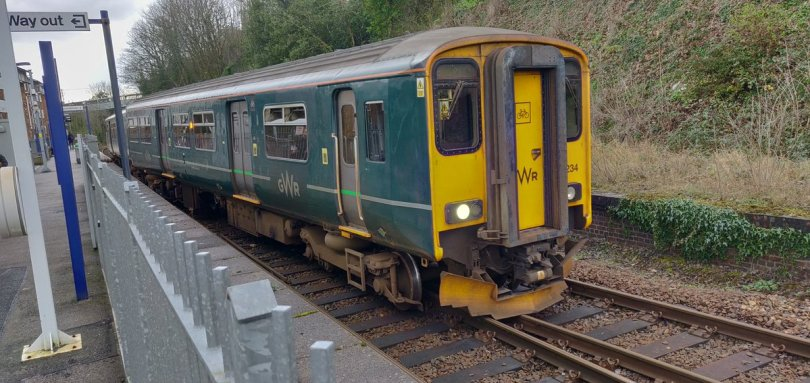 Derailed train at Penryn Station