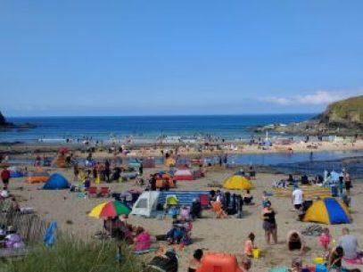 Crowds on Poldhu beach