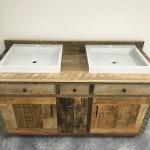 Reclaimed Wood Double Bathroom Vanity With Concrete Sinks Fama Creations