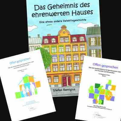 Bücher: Detektivgeschichte für Kinder und zwei Ratgeber zur Aufklärung von Kindern nach Samenspende u.ä.