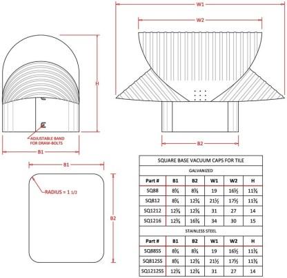 Square Flue Vacuum Cap - Stainless Steel-1293