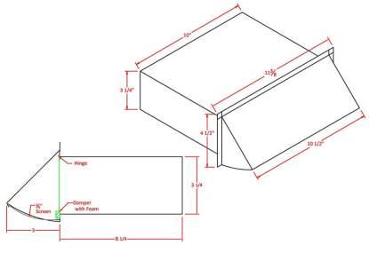 Rectangular Wall Vent 3-1/4 in. x 10 in. - Aluminum-1485