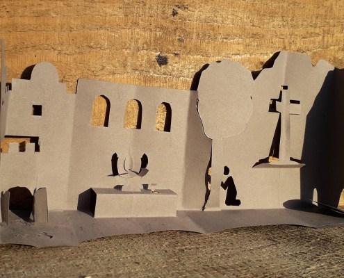 Oster-Diorama Scherenschnitt_Kreuzweg