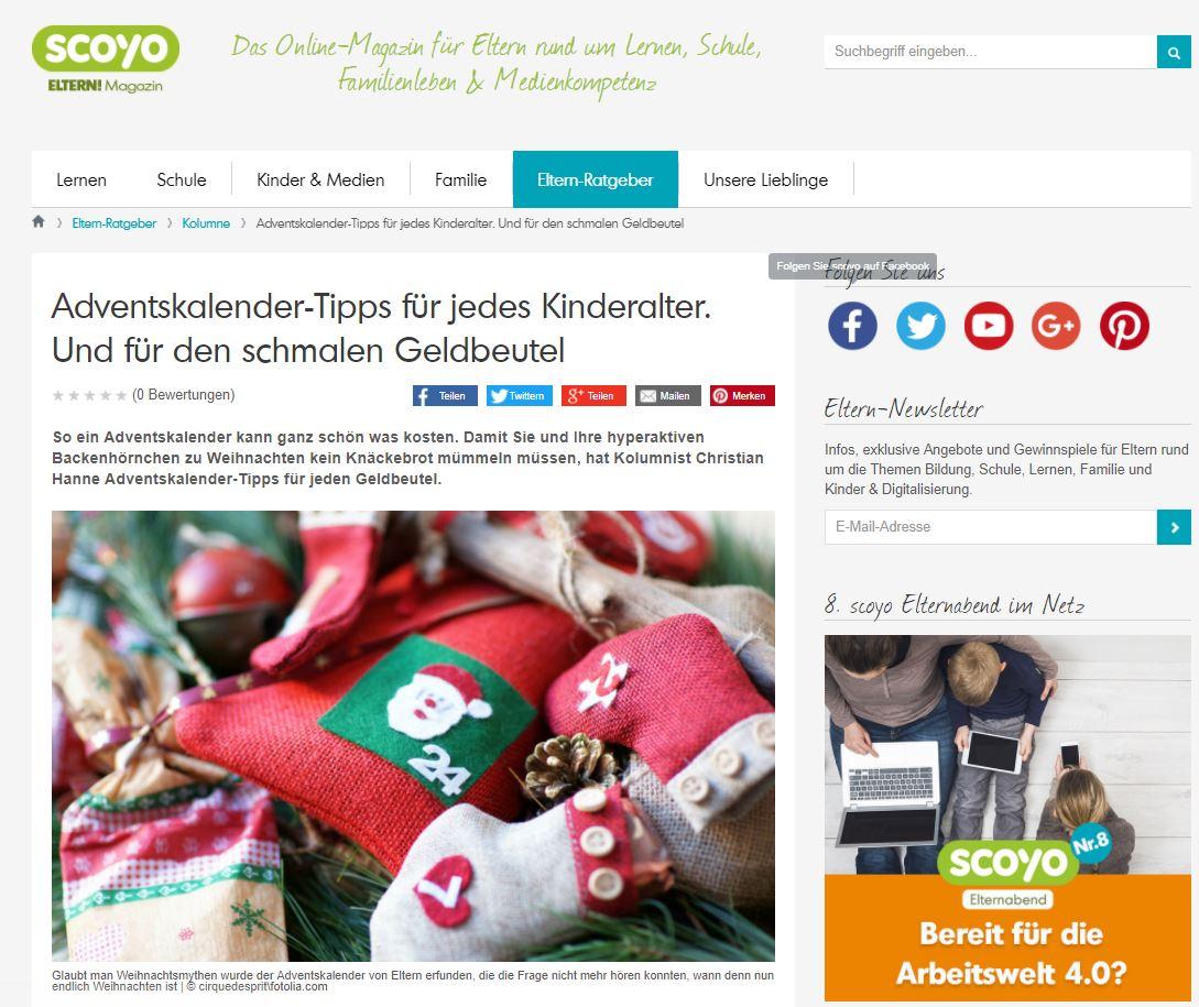scoyo-Kolumne: Adventskalender-Tipps für jedes Kinderalter. Und für den schmalen Geldbeutel