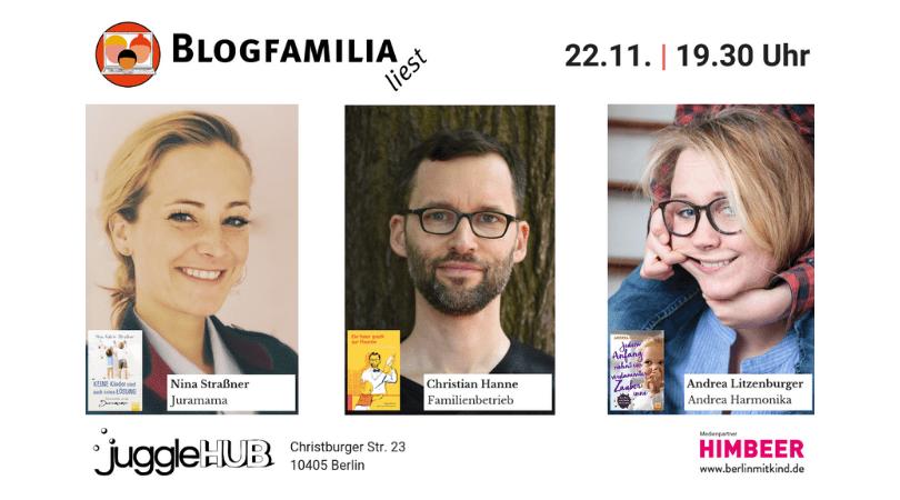"""Blogfamilia liest"" mit Juramama, Andrea Harmonika und Familienbetrieb"
