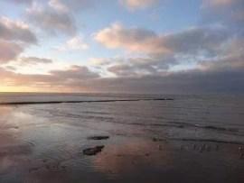 Soleil couchant sur la plage de Chipiona