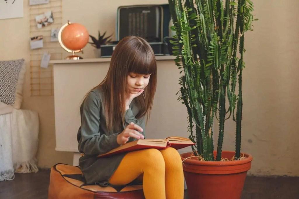 Instruction à domicile- enfant qui lit un livre scolaire