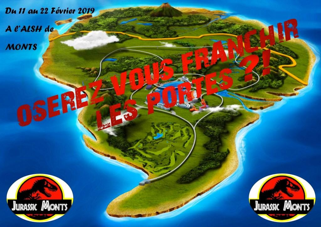 du 11 au 22 février 2019 à l'ALSH de Monts oserez vous franchir les portes du Jurassic Monts