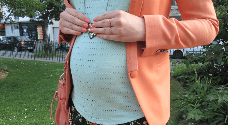 look de grossesse menthe abricot
