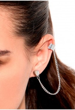 Aggnes Stud Earring With Cuff And Chain
