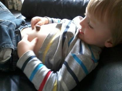Jake taking the Malteser Baby Bump Challenge