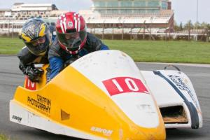 G & Tony racing on their sidecar.