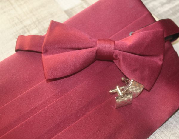 Dobell Cummerband & Bow Tie Burgundy Family Clan