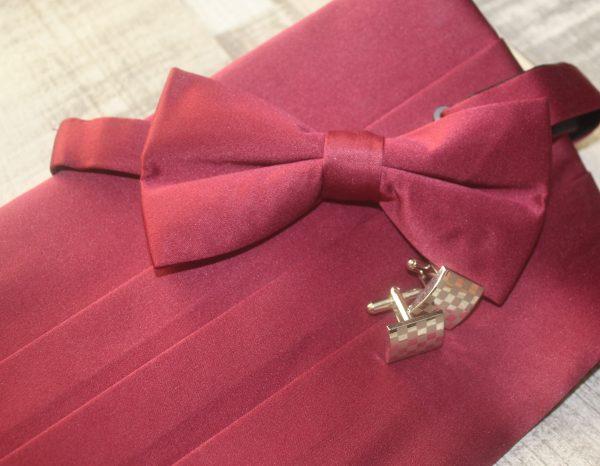 Dobell Cummerband & Bow Tie Burgundy Family Clan