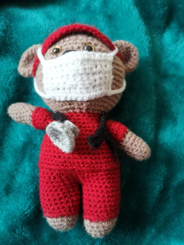 Crochet Front Line Hero Teddy Bear with Mask and Stethescoope Family Clan