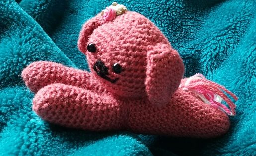 Puppy Dog Crochet Laying Down Roses and Tail Family Clan