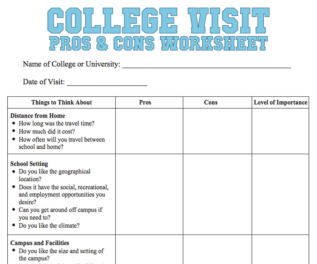 College Visit Checklist Worksheet