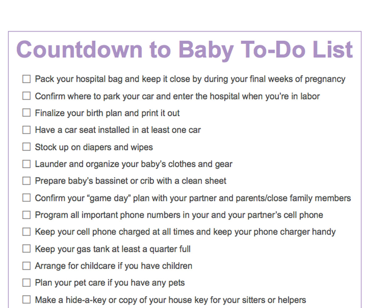 Third Trimester To Do List Countdown To Baby Printable Checklist