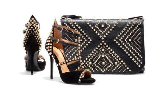studded shoes and handbag