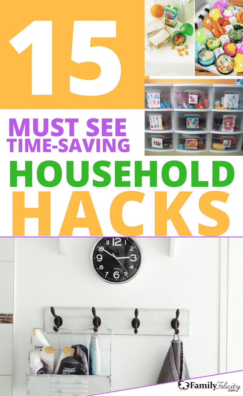 Get 15 ingenious household hacks for moms that'll save you time and your sanity. Get lunches ready faster, make bath time cleanup a breeze, and morning pancakes will never be the same! #HouseholdHacks #LifeHacks #MomHacks