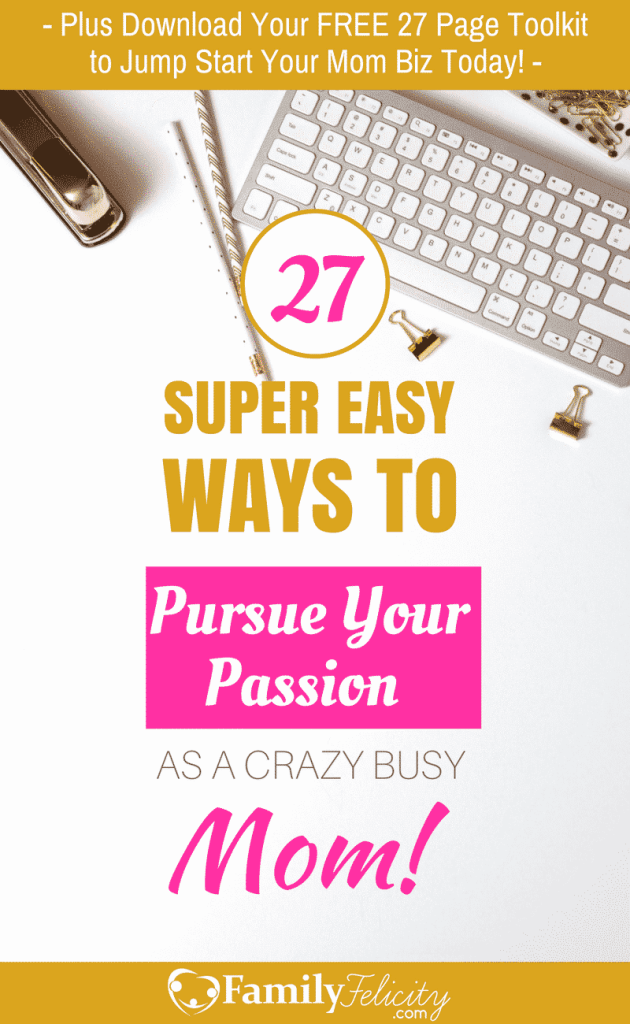 Have you ever wondered what the difference is between passion and purpose? This post reveals the difference and why you need both. Also click the image to get 27 super easy ways to pursue your passion as a crazy busy mom