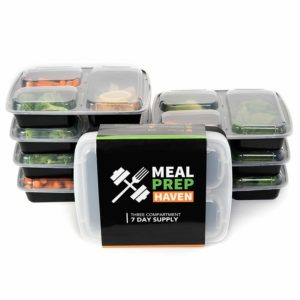 Meal Prep Haven 3 Compartment Food Containers with Airtight Lid, Bento Box, Lunch Box for Meal Prep