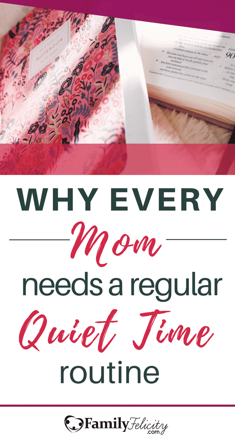 Quiet time for moms seems like a misnomer because most days are riddled with constant noise. But moms need to carve out a little slice of quiet for themselves everyday to allow for prayer, journaling, and reflection. Get the simple steps to starting your own quiet time routine.