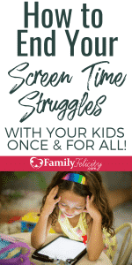 There's nothing wrong with kids having screen time, but sometimes it can get out of balance. Here are easy tips to end the screen time struggles with your kids! #kidsandparenting #kids #parenting #parentingtips
