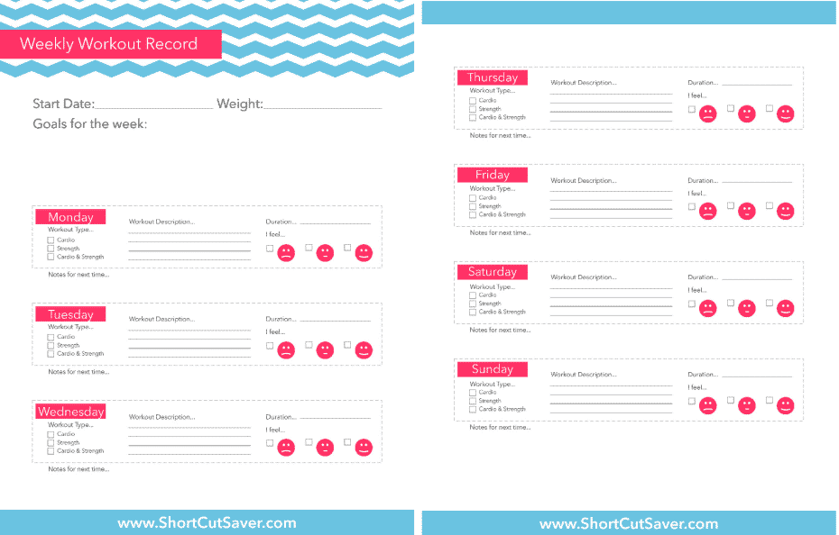 Workout printables