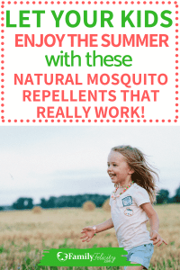 Let your kids play outside and enjoy the summer nights without getting eaten alive! These natural mosquito repellents using essential oils really work and are safe! #naturalliving #green #essentialoils #kidsandparenting