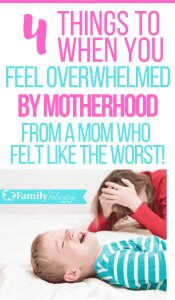 Motherhood is hard but when you feel totally overwhelmed and exhausted there is HELP! These 4 simple things will lift your mindset and make you see you're a great mom! #kidsandparenting #parenting