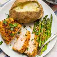 Crunchy baked pork chops (+ video)