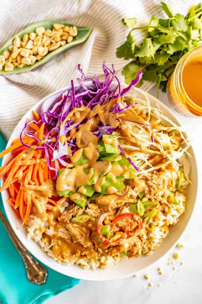 Peanut Chicken Rice And Cabbage Bowls