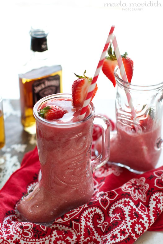 Cowgirl Coolers | Whiskey Strawberry Daiquiri Cocktail | recipe on FamilyFreshCooking.com