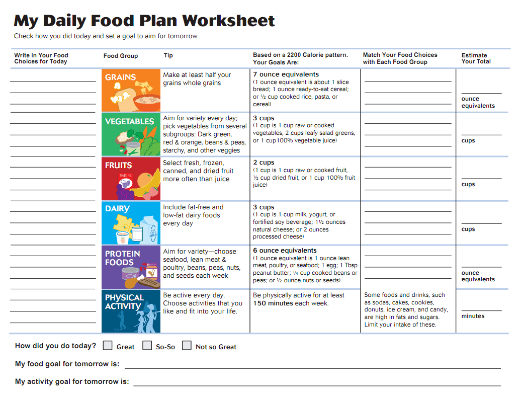 Healthy Living Planning Worksheet