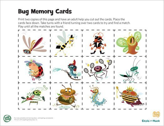 FREE Bug Memory Cards From LeapFrog Printable Activity