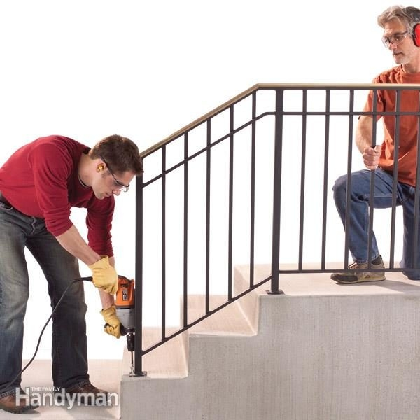 Safety First Install An Outdoor Stair Railing — The Family Handyman | Outdoor Metal Stair Steps | Stair Railing | Stair Riser | Deck Stairs | Stair Stringer | Wrought Iron Railings
