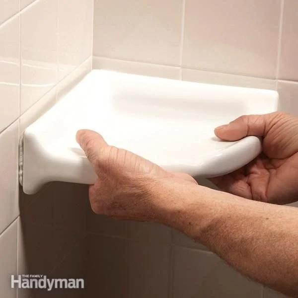 how to install a corner shower shelf diy